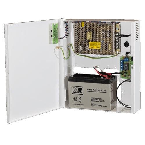 Fuente de alimentación 12V - 6A con caja y espacio para bateria de respaldo de 7Ah