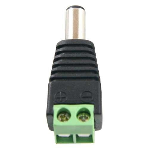 Conector DC macho estándar con salida +/- de 2 terminales para alimentación